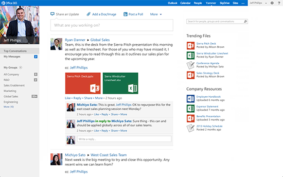 Yammer and Office 365 concept mockup
