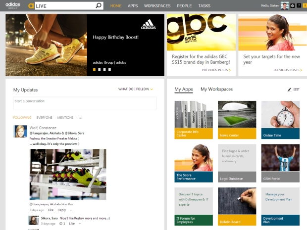 Personalised homepage of the adidas Group Intranet